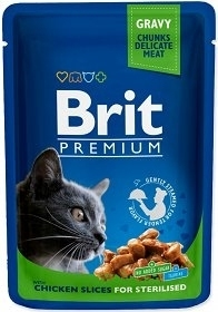 BRIT CAT POUCHES 100G CHICKEN SLICES FOR STERILISE